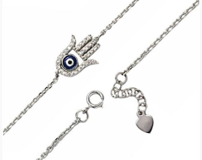 Hamsa Bracelet, Silver CZ Bracelet, Evil Eye Bracelet, Dainty Hamsa Bracelet, Silver Evil Eye, Protection Charm, Best Friend Gift