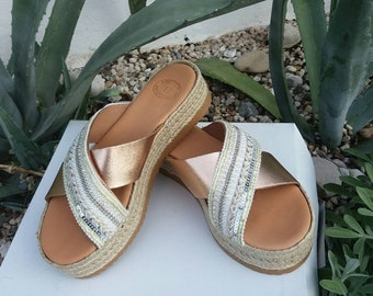 FREE SHIPPING, Wedding Sandals for Bride, Chic Women Platforms, Handmade Greek Sandals, Flat Genuine Leather Sandals, Decorated Platforms