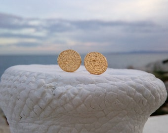 Phaistos Disc Stud Earrings, 14k Gold Filled or Sterling Silver, Ancient Greek Earrings, Dainty Stud Earrings, Σκουλαρίκια με Δίσκο Φαιστού