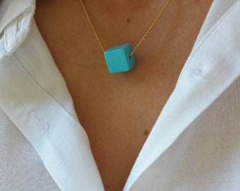 Turquoise Cube Necklace