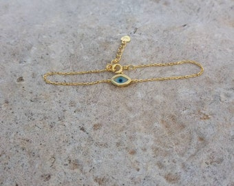 Tiny Evil Eye Bracelet, 14k Gold Filled Evil Eye Bracelet, Protection Charm, Gifts for Her, Evil Eye Bead Bracelet, Solid Silver Bracelet