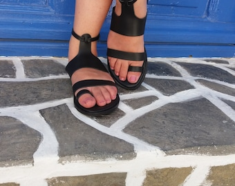 T-Strap Leather Sandals, Black Sandals, Greek Leather Sandals, Handmade Sandals, Strappy Sandals, Genuine Leather Sandals