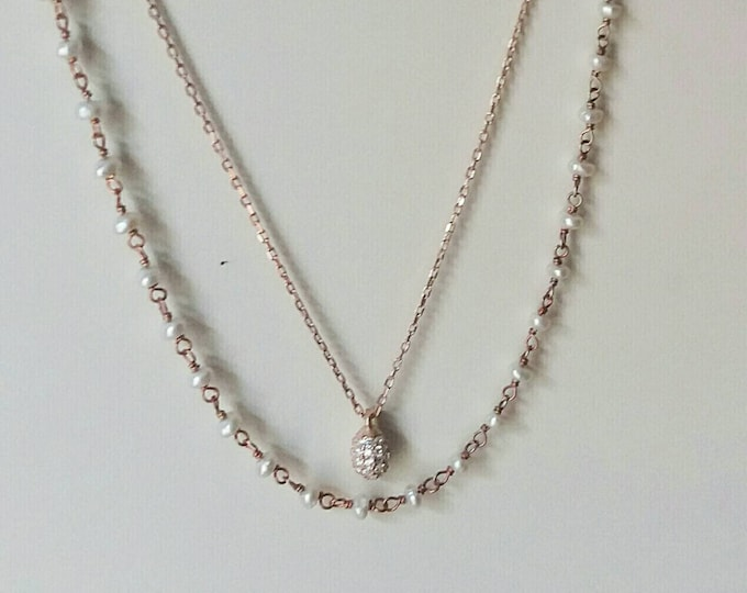Pearl Rosary Necklace, Rose Gold Fill, Cubic Zirconia, Drop Necklace, Necklace Set, High Quality Chain, Bridesmaid Gift, Anniversary Gift