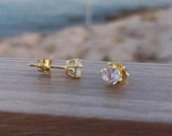 Solid Gold CZ Earrings