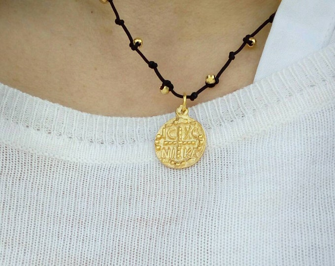 Christian Necklace, Greek Christian Pendant, Byzantine Cross Pendant, Orthodox gold coin Necklace, 14k Gold Filled Double Sided, Gift for bf