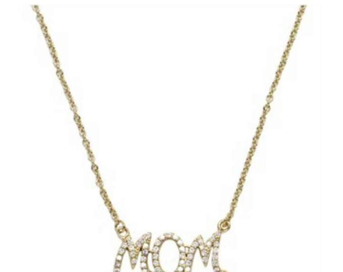Mom Necklace, 14k Gold Fill, Cubic Zirconia, 925 Sterling Silver, Everyday Necklace, Mother's Gift, Birthday Gift, Chic Mom Collier