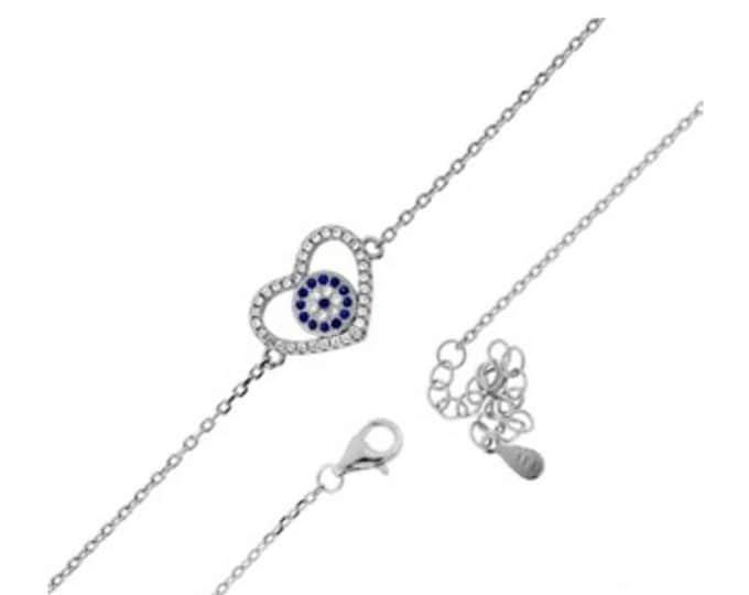 Evil Eye Bracelet, Silver Bracelet, Cubic Zircon Bracelet, Heart Evil Eye, Dainty Bracelet