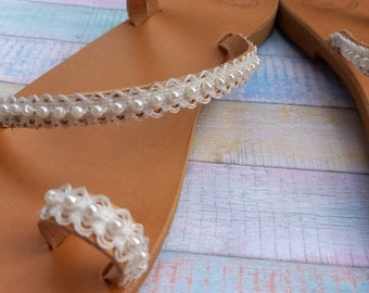 Bridal Flat Sandals, Wedding Sandals, Boho Wedding Shoes, Leather Sandals, Toe Sandals for bride, Flache Brautschuhe, Free Express Shipping
