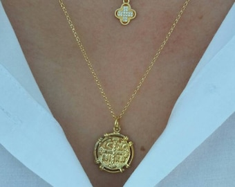 Set of 2 Gold Filled Necklaces, Dainty Cross and Constantinato Necklace, 14k Gold Filled Necklaces