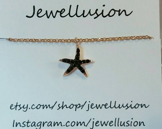 Starfish necklace, rose gold necklace, zirconia starfish necklace, rose gold starfish, summer look, dainty necklace