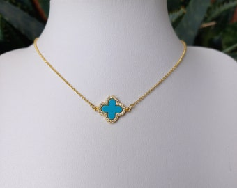 Gold Filled Turquoise Cross Necklace