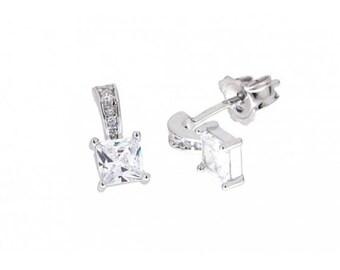 Solitaire Earrings, Cubic Zirconia Drop Earrings,  Dainty Earrings, Sterling Silver, Anniversary gift, Wedding Earrings