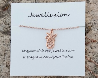 Pineapple Necklace, Rose Gold Filled, Summer Jewelry, Gift for Her, Handmade Necklace from Greece