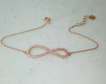 Rose Gold Filled Infinity Bracelet, Dainty Cubic Zirconia Bracelet, Everyday Jewellery, Anniversary Gift, Bridesmaid Gift, Chic