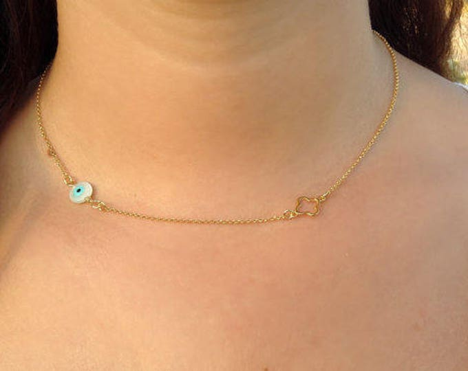 Evil Eye Necklace, Gold Necklace, Four Leaf Clover Necklace, Bridesmaid Gift,  Protection Necklace, Anniversary Gift, Birthday Gift, Dainty