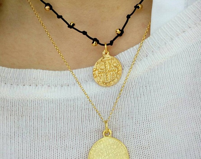 Christian Words Necklace, Layered Necklaces Set, Phaistos Disc Necklace, 14k Gold Fill, Constantinato Necklace, Protection Necklace, Chic