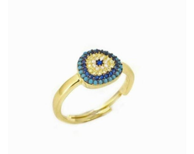 Blue Evil Eye Ring, 14k Gold Filled, Gold Ring, Cubic Zirconia, Engagement Ring, Protection Ring, Blue Evil Eye, Anniversary Gift, Chic Ring