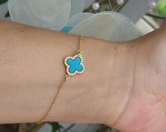 Turquoise Zircon Clover Bracelet