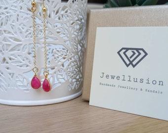 Long Teardrop Earrings, Ruby Quartz, 14k Gold Filled Earrings, Everyday Jewelry, Dainty Turquoise Earrings, Girlfriend Gift, Chic Bijoux