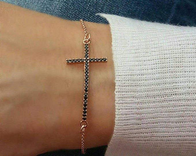 Rose gold bracelet / black zirconia sideways cross / layered bracelet / dainty everyday bracelet / cross bracelet