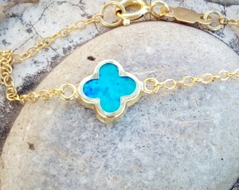 Blue Opal Bracelet 14K Gold Filled