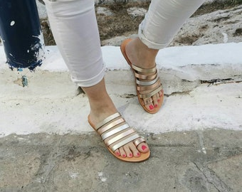Rose Gold Sandals,Handmade  Leather Sandals, Toe Ring Sandals, Metallic Color Sandals, Ancient Greek Sandals, Wedding Sandals, Silver Sandal