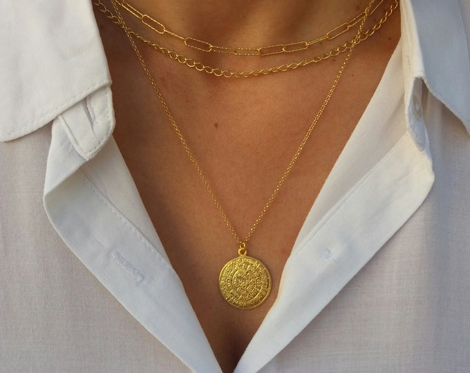 Featured listing image: Gold Layered Chain Necklaces, Greek Phaistos Disc Necklace, Set of 3 Necklaces 14k Gold Filled