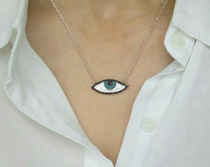 Evil Eye Necklace, Cubic Zirconia, Blue Eye Necklace, Protection Charm, Sterling Silver, High Quality Chain, Sister Gift, Delicate Necklace
