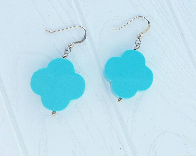 Huge Turquoise Clover Earrings, 925 Sterling Silver Earrings, Four Leaf Clover, Ivory Earrings, Everyday Jewellery, Bohemian Earrings