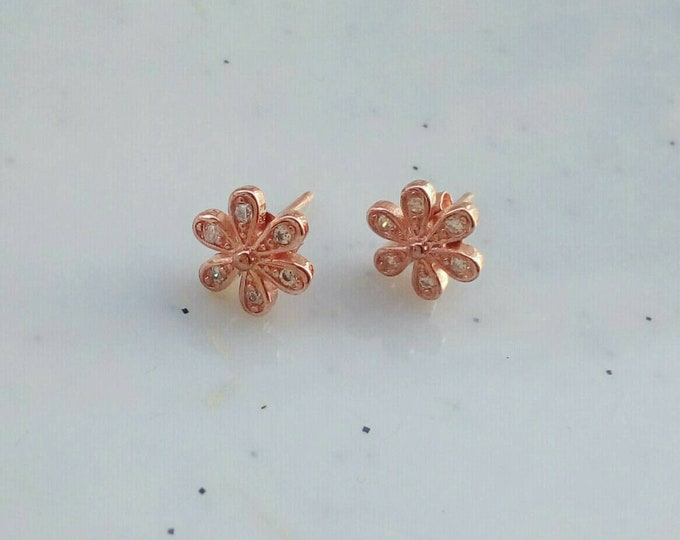 Dainty Stud Earrings Rose Gold Filled, Flower Earrings, Cubic Zirconia, Anniversary Gift, Wedding Earrings, Gifts for Her
