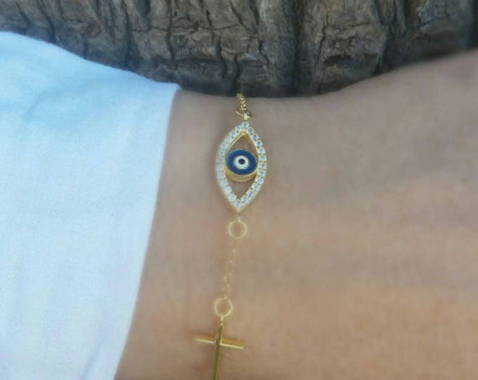 Cross Evil Eye Bracelet Gold, Sideways Cross Bracelet, Gifts for Her, Dainty Evil Eye, Protection Charm, Blue Evil Eye, Baptism Bracelet