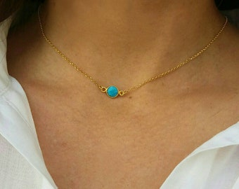 Gold Filled Turquoise Stone Necklace