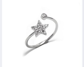 Star Ring, Adjustable Ring, Cubic Zirconia, Everyday Ring, Dainty Ring, Birthday Gift, Anniversary Ring, Minimalist Jewellery, Chic