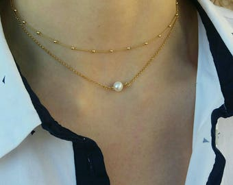 Pearl Necklace Layered, AAA Freshwater Pearl, Dew Drop Satellite Chain, Dew Drops Choker, 14k Gold Filled Necklace, Chic Collier