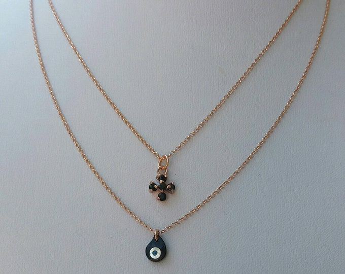 Layered necklace / evil eye necklace / cross necklace / rose gold layered / drop evil eye with cross / everyday jewelry / gifts for her