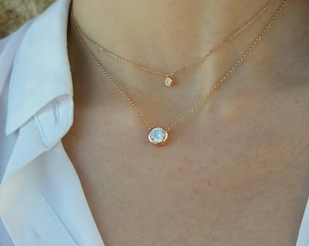 Rose Gold Tiny Diamond Necklaces
