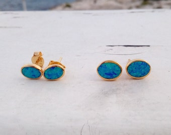 Blue Opal Earrings 14k Gold Filled, Opal Stud Earrings, Sterling Silver, Everyday Jewellery, Chic Bijoux