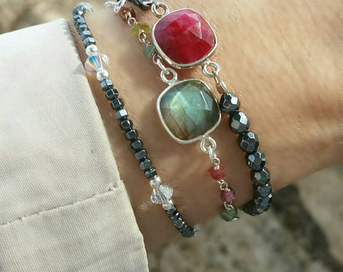 Labradorite bracelet, ruby quartz bracelet, tourmaline rosary bracelet, beaded bracelet, everyday jewelry, summer bracelet, gemstones