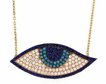 Rose Gold Almond Blue Zircon Evil Eye Necklace