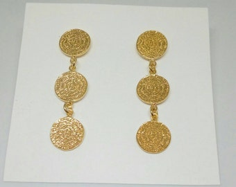Phaistos Earrings, 14k Gold Filled Earrings, Ancient Greek Earrings, Everyday Jewelry, Dainty Drop Earrings, Σκουλαρίκια με Δίσκο Φαιστού