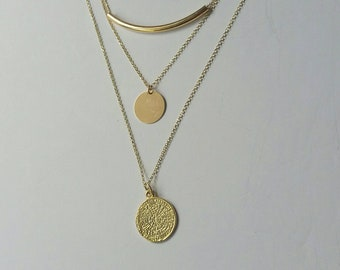 Layered Set Necklaces, 14k Gold Filled, Phaistos Disc, Phaistos Necklace, Disc Necklace, Tube Necklace, Bar Necklace, Greek Jewelry, Chic