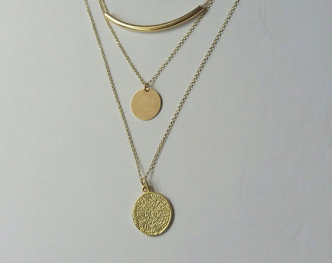 Layered Necklace, 14k Gold Filled, Phaistos Pendant, Disc Necklace, Tube Pendant, Ancient Greek Jewelry, Gifts for Her