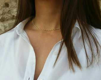 Gold Filled Pearl Rosary Necklace