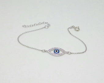 Blue-White Zircon Evil Eye Bracelet