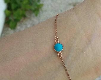 Rose Gold Turquoise Stone Bracelet