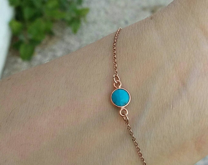 Dainty Turquoise Bracelet, Rose Gold Bracelet, Layered Bracelet, Howlite Bracelet, Best Friend Gift, Bridesmaid Gift, Birthday Gift, Dainty