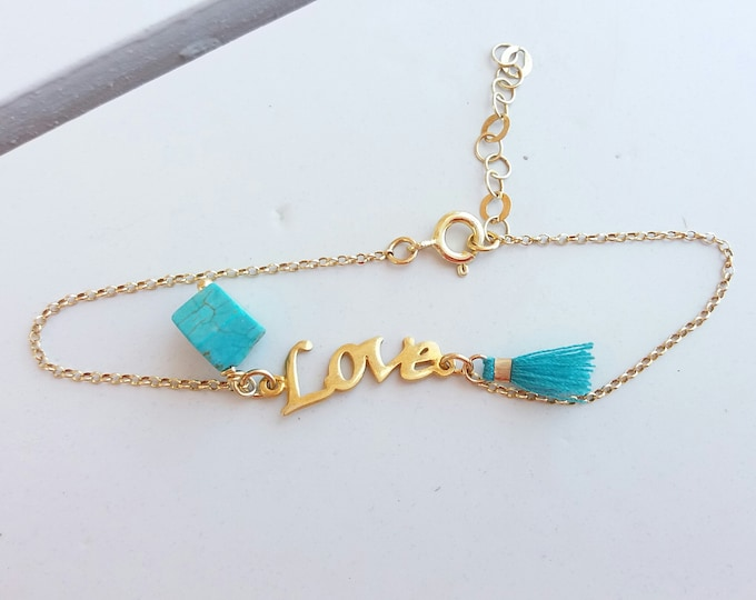 Gold Turqouise Bracelet Love, Turquoise Bead Bracelet, Everyday Bracelet, Turquoise Tassel Bracelet, Best Friend Gift, Girlfriend Gift, Love