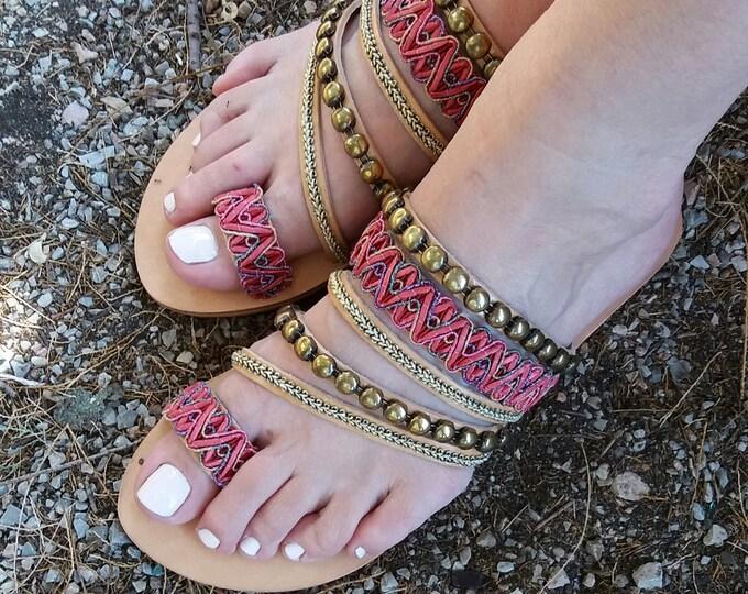 Boho  Sandals- Hippie Sandals- Chic Sandals- Slip On Sandals- Genuine Leather Sandals- Greek Sandals- Summer Sandals