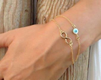 Layered Infinity, Round Evil Eye Bracelet