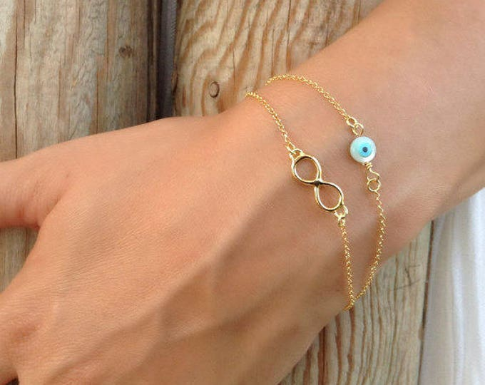 Infinity Evil Eye Bracelet, Layered Bracelet, Evil Eye Bracelet, 14k Gold Filled Bracelet, Minimalist Bracelet, Bridesmaid Gift, Chic